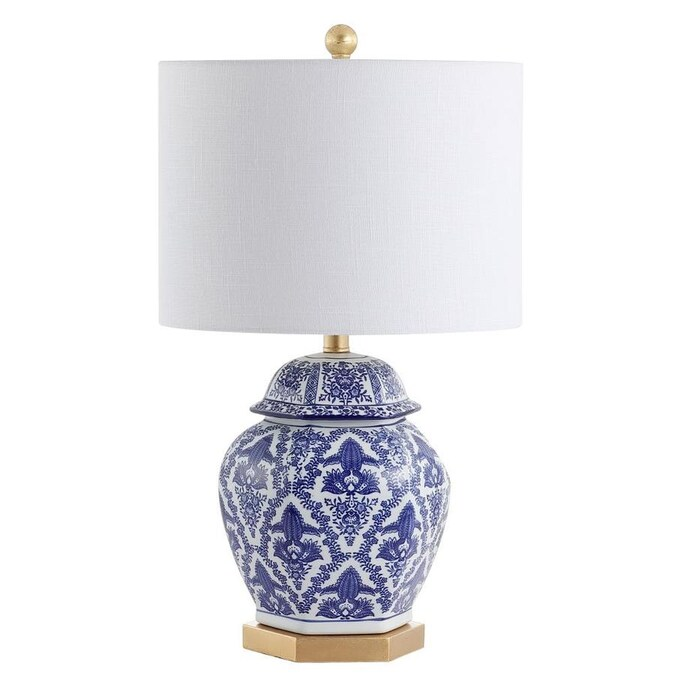 Jonathan Y Classic 25 In Brass Gold Rotary Socket Table Lamp With Linen Shade In The Table Lamps Department At Lowes Com