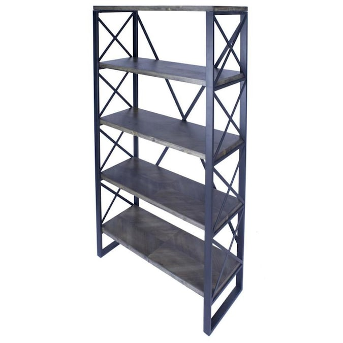 Homeroots 32 75 X 13 5 X 59 Natural Grey Metal Wood Mdf Bookcase With Shelves In The Bookcases Department At Lowes Com