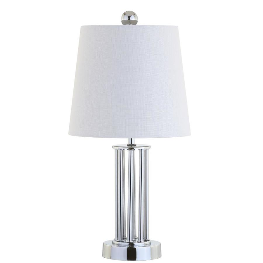 Jonathan Y Glam 18 In Chrome Rotary Socket Table Lamp With Linen Shade In The Table Lamps Department At Lowes Com