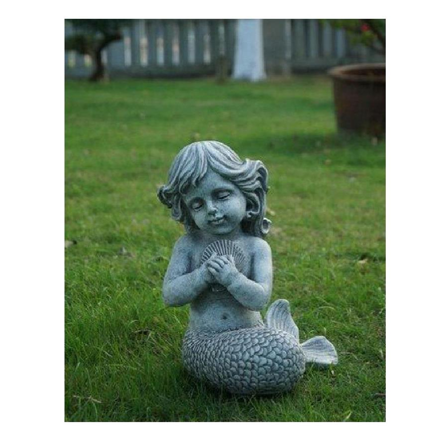 Hi Line Gift 12 75 In H X 9 75 In W Gray Angels And Cherubs Garden Statue In The Garden Statues Department At Lowes Com