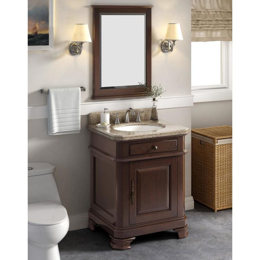 Perkin 28 In Charcoal Undermount Single Sink Bathroom Vanity With Tai Red Granite Top Mirror Included In The Bathroom Vanities With Tops Department At Lowes Com