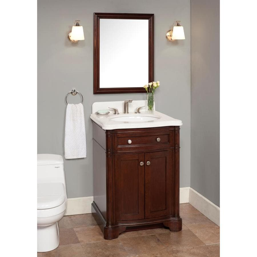 Chester 26 In Brown Undermount Single Sink Bathroom Vanity With Elizabeth White Quartz Top In The Bathroom Vanities With Tops Department At Lowes Com