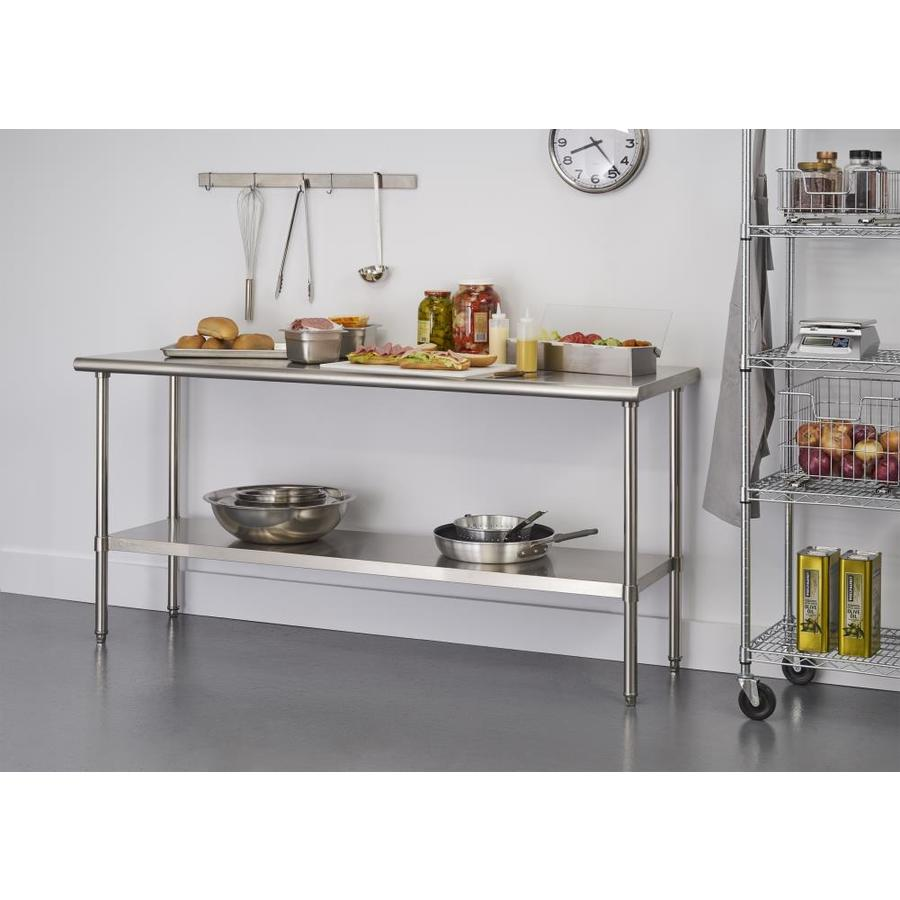 Trinity Stainless Steel Steel Base With Stainless Steel Metal Top Prep Table 24 In X 72 In X 34 65 In In The Kitchen Islands Carts Department At Lowes Com