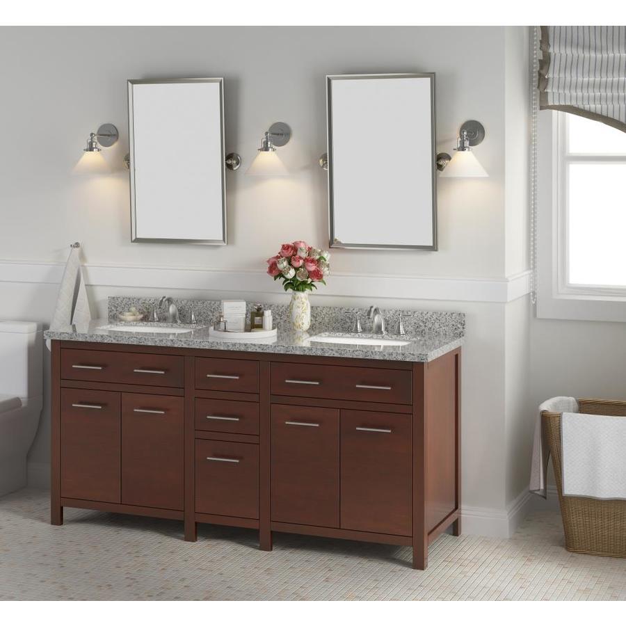 Bianco 72 In Brown Double Sink Bathroom Vanity With Belthel White Granite Top In The Bathroom Vanities With Tops Department At Lowes Com