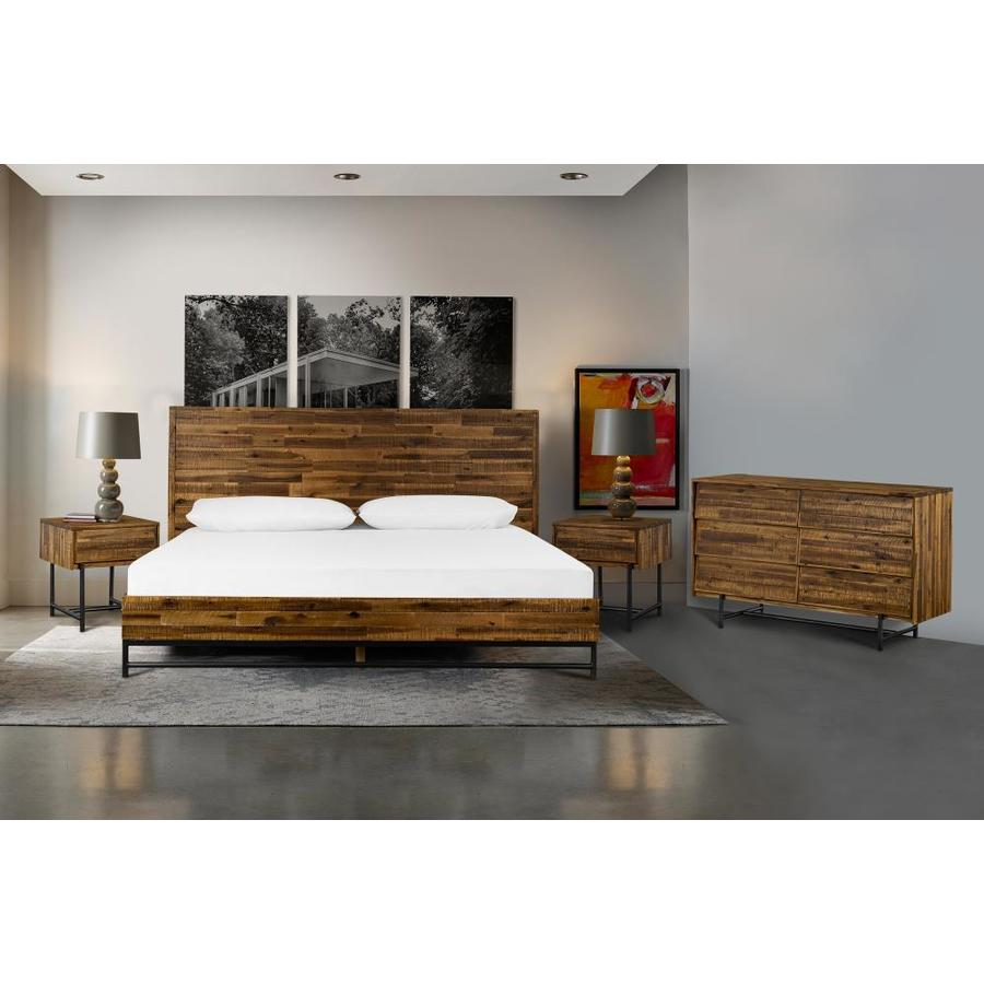 Armen Living Cusco 4 Piece Acacia King Bedroom Set With Dresser And Nightstands In The Bedroom Sets Department At Lowes Com