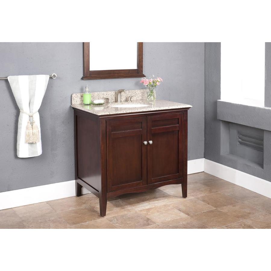 Ashford 36 In Dark Chocolate Single Sink Bathroom Vanity With Tai Red Granite Top In The Bathroom Vanities With Tops Department At Lowes Com