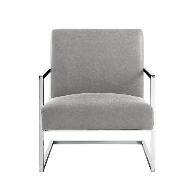 Nicole Miller Konnor Modern Light Grey Chrome Accent Chair In The Chairs Department At Lowes Com