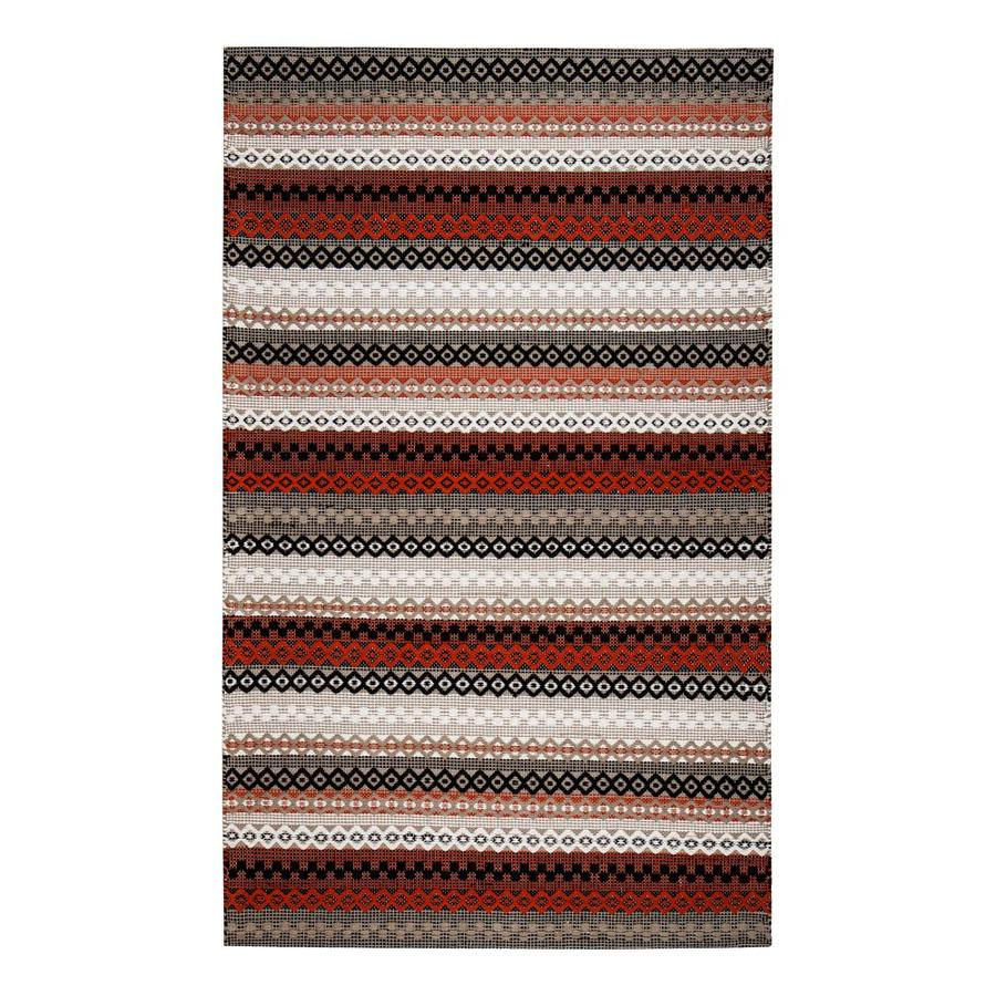Anji Mountain 5 X 8 Red Gray Black White Indoor Stripe Farmhouse Cottage Handcrafted Area Rug In The Rugs Department At Lowes Com