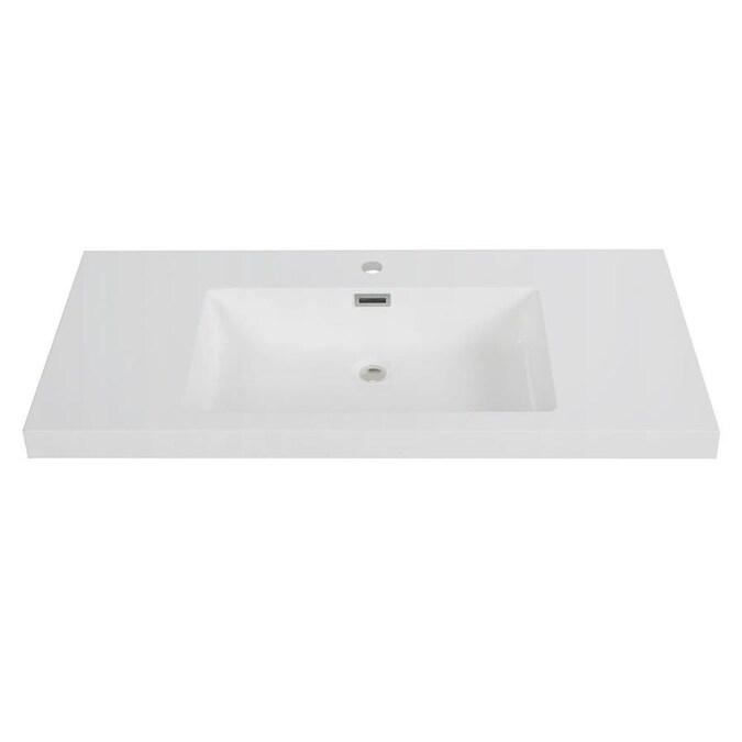 Streamline 39 In Glossy White Solid Surface Single Sink Bathroom Vanity Top In The Bathroom Vanity Tops Department At Lowes Com