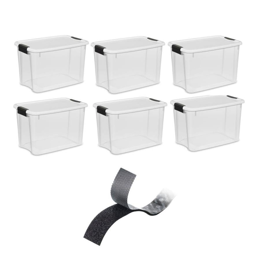 Sterilite 1985 30 Quart Ultra Latch Clear Storage Box with White Lid 24 Pack
