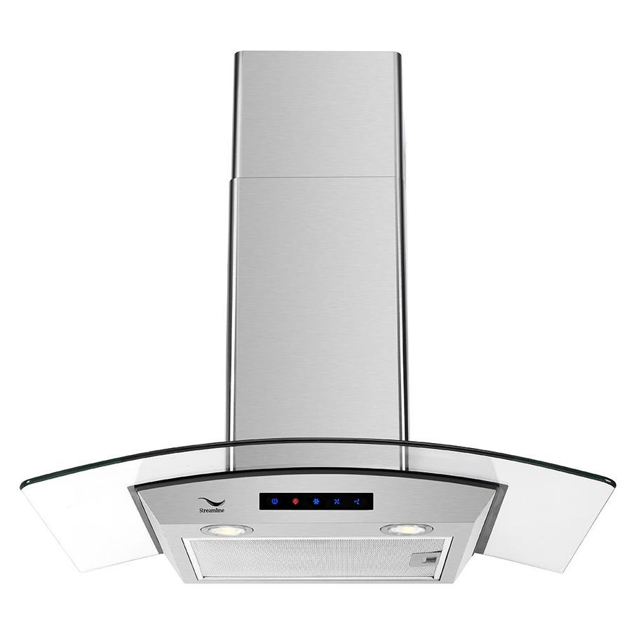 Streamline 30 In Convertible Stainless Steel Wall Mounted Range Hood With Charcoal Filter In The Wall Mounted Range Hoods Department At Lowes Com