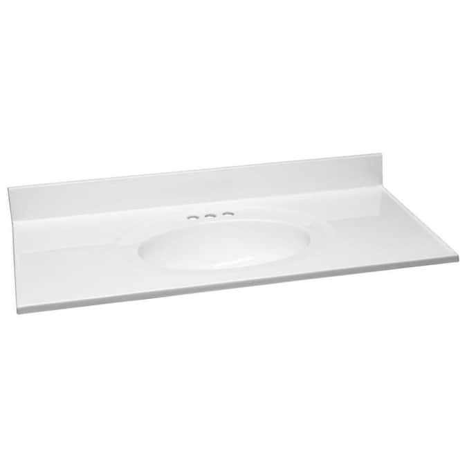 Design House 43 In Solid White Cultured Marble Single Sink Bathroom Vanity Top In The Bathroom Vanity Tops Department At Lowes Com