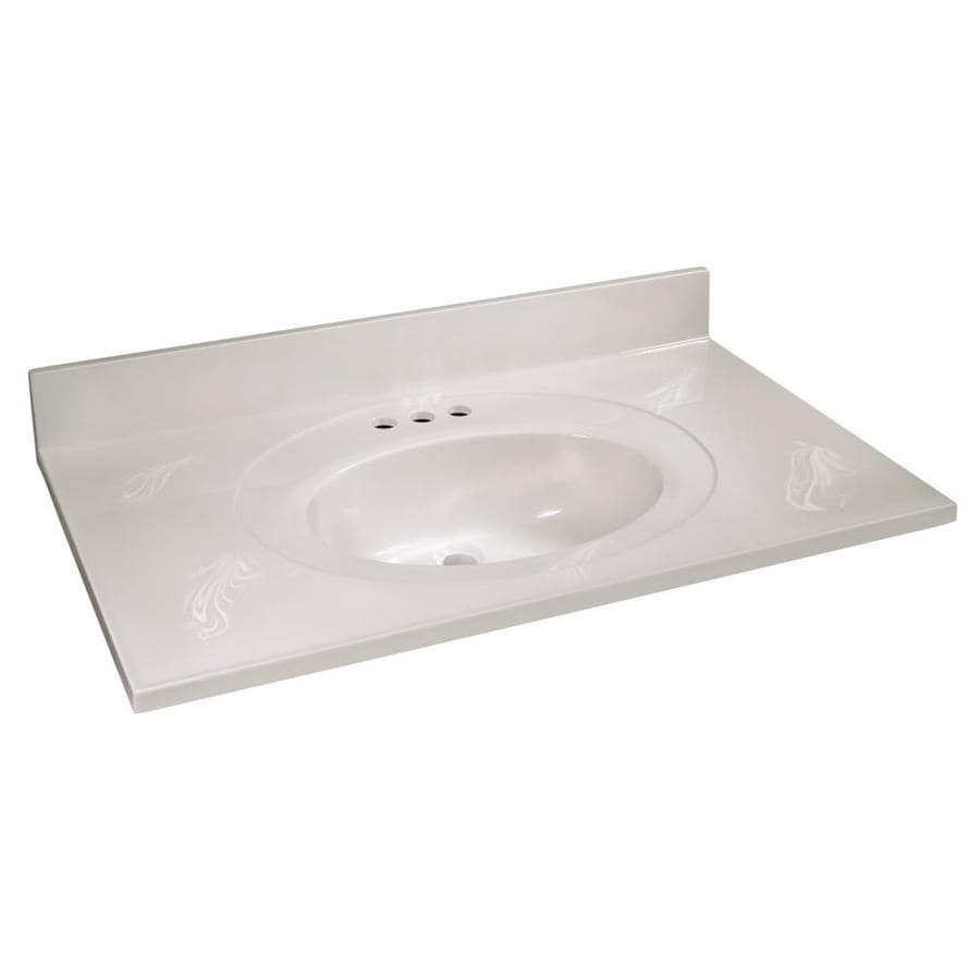 Design House 37 In White On White Cultured Marble Single Sink Bathroom Vanity Top In The Bathroom Vanity Tops Department At Lowes Com