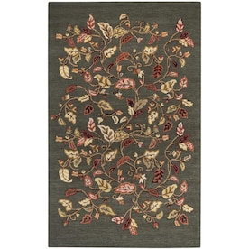 Martha Stewart Autumn Woods 4 X 6 Colonial Blue Indoor Floral Botanical Handcrafted Area Rug In The Rugs Department At Lowes Com
