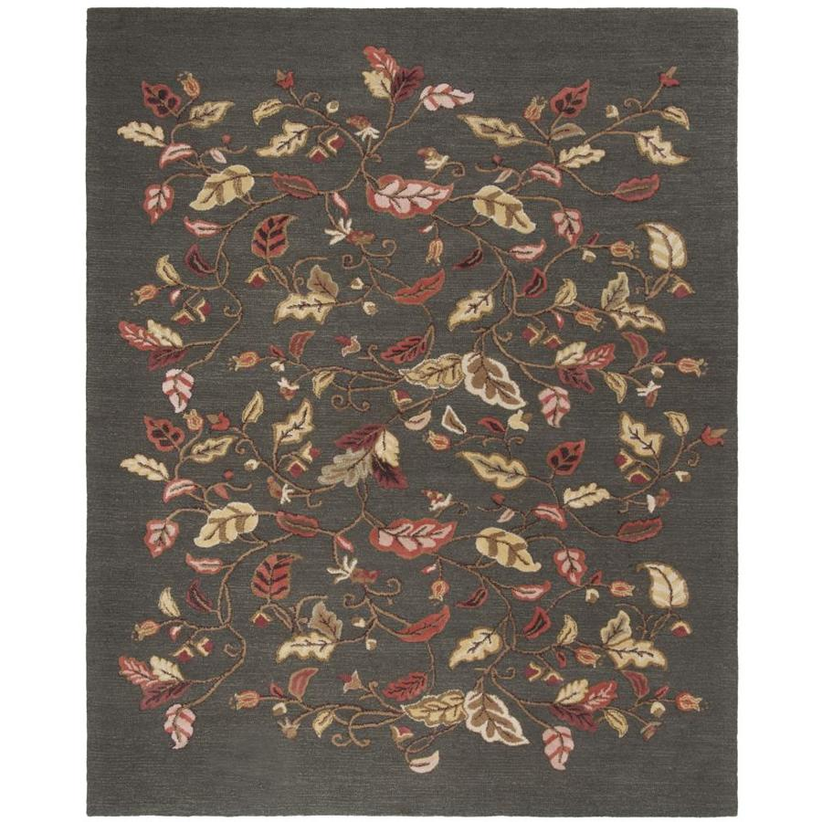 Martha Stewart Autumn Woods 9 X 12 Francesca Black Floral Botanical Handcrafted Area Rug In The Rugs Department At Lowes Com