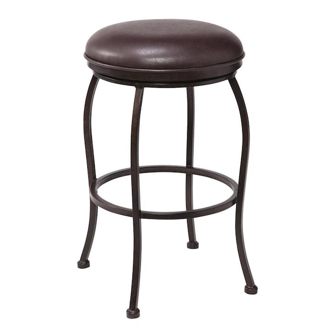 Armen Living Amy Brown Counter Upholstered Swivel Bar Stool In The Bar Stools Department At Lowes Com