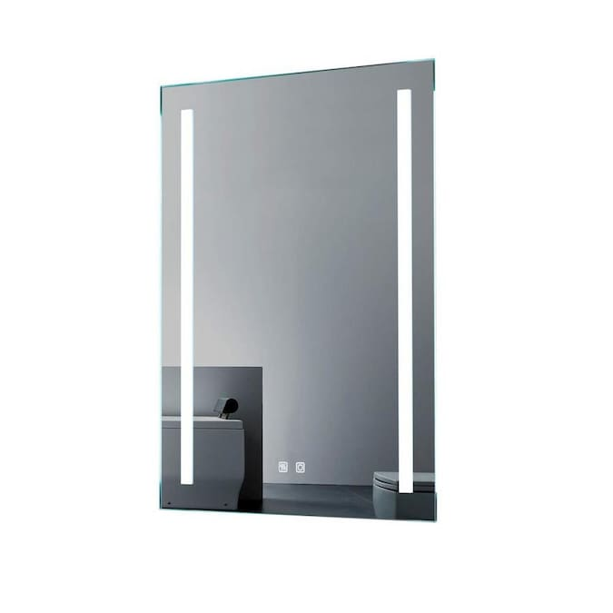 Clihome Led Bathroom Mirror Frame Less 24 In Silver Rectangular Frameless Lighted Led Bathroom Mirror In The Bathroom Mirrors Department At Lowes Com