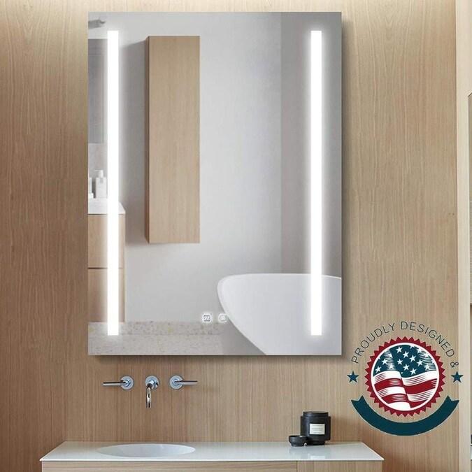 Clihome Led Bathroom Mirror Frame Less 24 In Lighted Led Fog Free Silver Rectangular Frameless Bathroom Mirror In The Bathroom Mirrors Department At Lowes Com