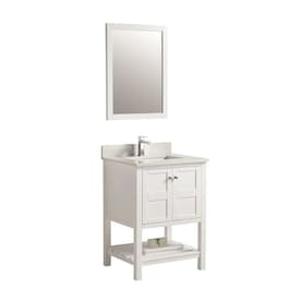 Clihome 21 In Blue Single Sink Bathroom Vanity With White Ceramic Top Mirror Included In The Bathroom Vanities With Tops Department At Lowes Com