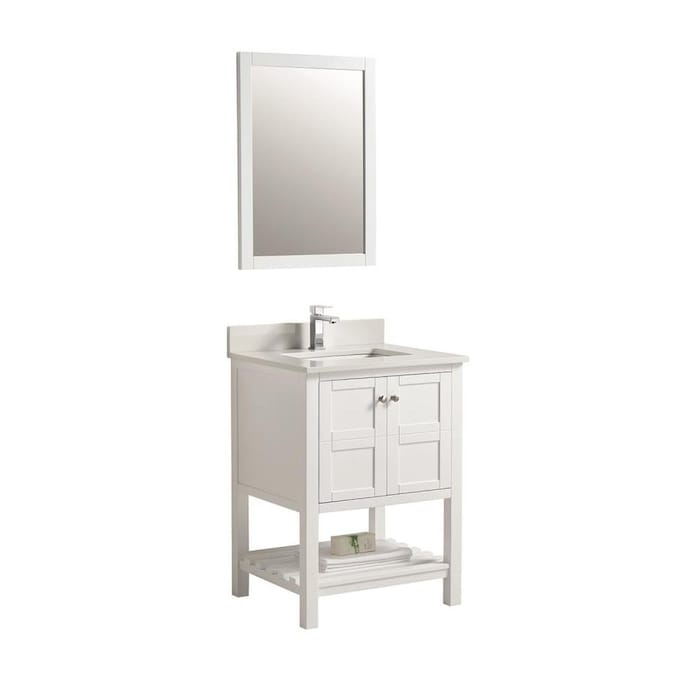 Clihome 21 In White Single Sink Bathroom Vanity With White Ceramic Top Mirror Included In The Bathroom Vanities With Tops Department At Lowes Com