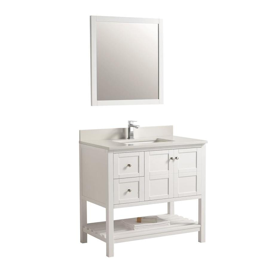 Clihome 34 In White Single Sink Bathroom Vanity With White Ceramic Top Mirror Included In The Bathroom Vanities With Tops Department At Lowes Com