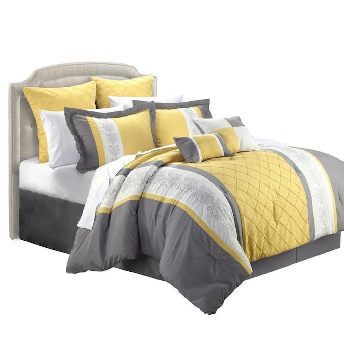 Chic Home Design Livingston 12 Piece, Yellow King Bedding