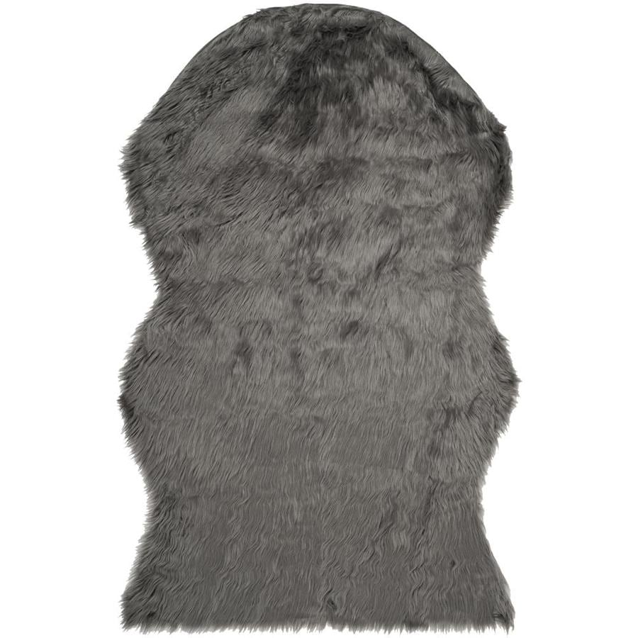 Safavieh Faux Sheep Skin Larissa 3 X 5 Gray Irregular Indoor Solid Throw Rug In The Rugs Department At Lowes Com