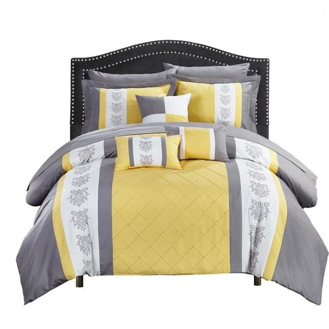10 Piece Yellow King Comforter Set, Yellow King Bedding