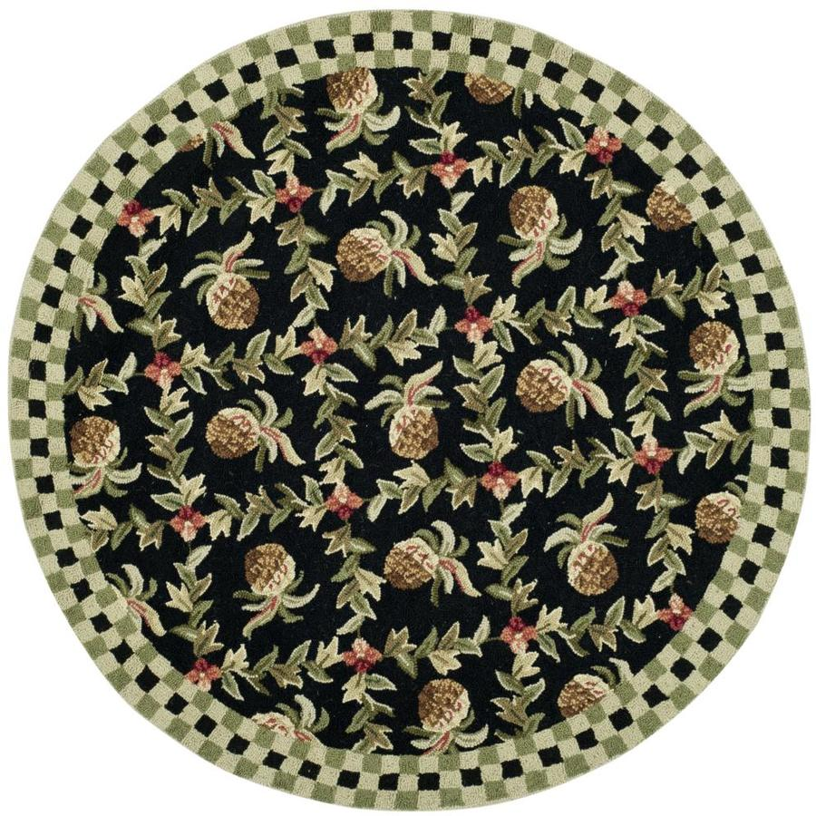 Safavieh Chelsea Pineapple 6 X 6 Black Ivory Round Indoor Floral Botanical Handcrafted Area Rug In The Rugs Department At Lowes Com