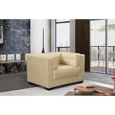 Cream Faux Leather Club Chair
