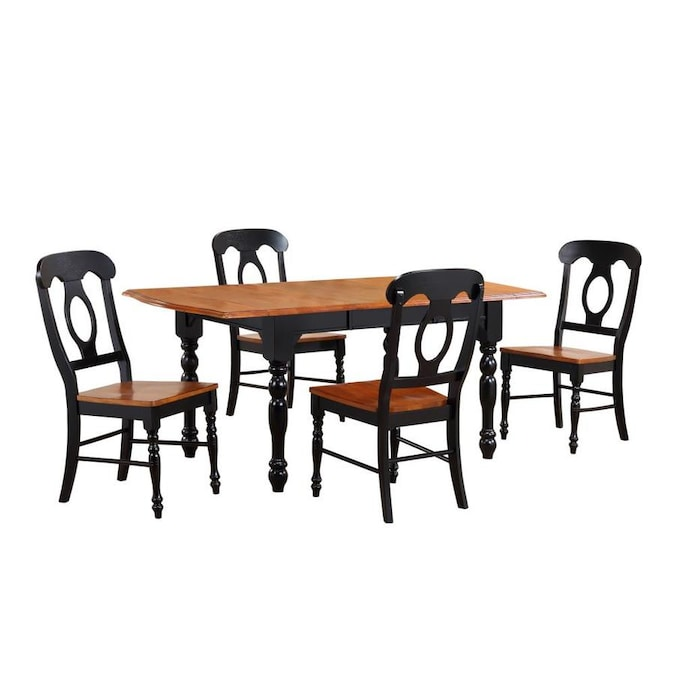 Sunset Trading Black Cherry Selections 5 Piece Drop Leaf Extendable Dining Table Set In Antique