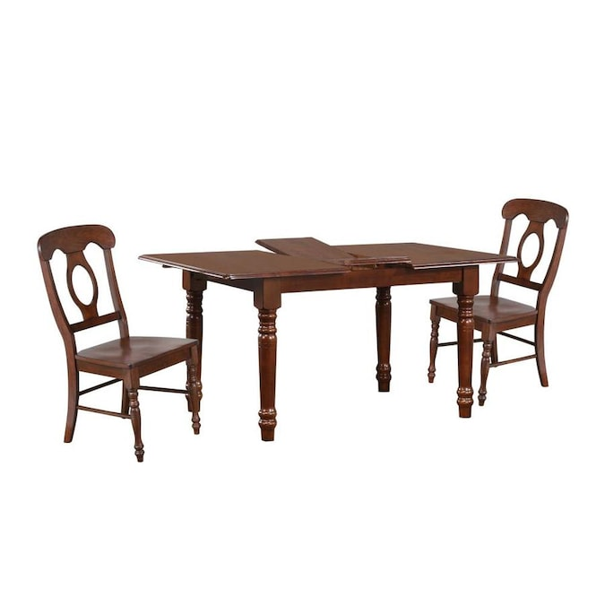 Sunset Trading Andrews 5 Piece Butterfly Leaf Dining Table Set With Napoleon Chairs In Chestnut In The Dining Room Sets Department At Lowes Com