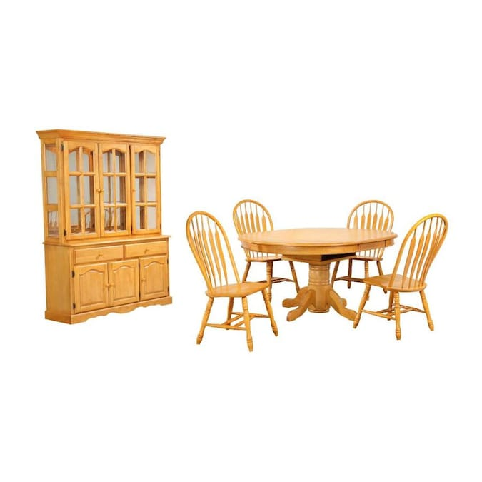 Sunset Trading Oak Selections 7 Piece Pedestal Dining Set With China Cabinet In Light Oak In The Dining Room Sets Department At Lowes Com
