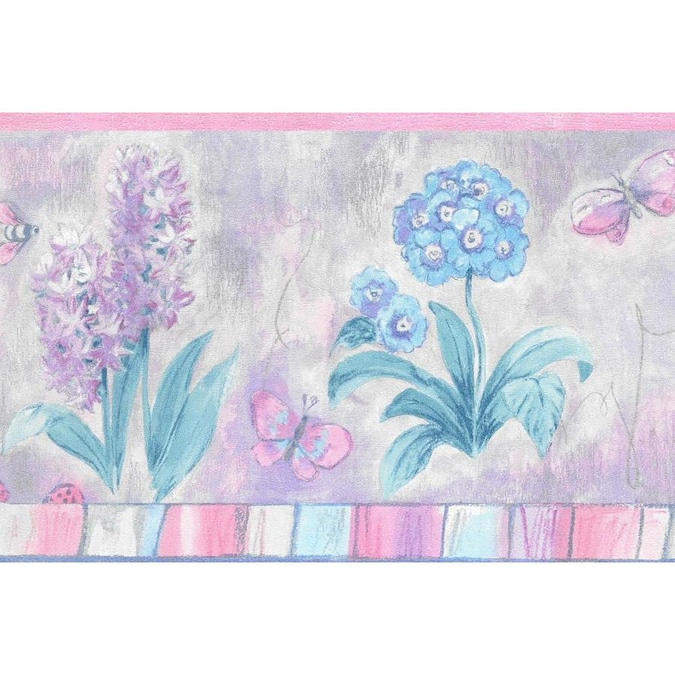 Dundee Deco 9 25 In Kids Blue Pink Purple Flowers Butterflies Prepasted Wallpaper Border In The Wallpaper Borders Department At Lowes Com