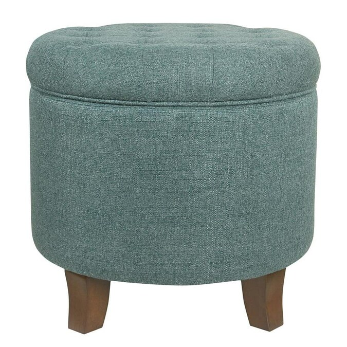 benzara fabric upholstered round ottoman with lift top