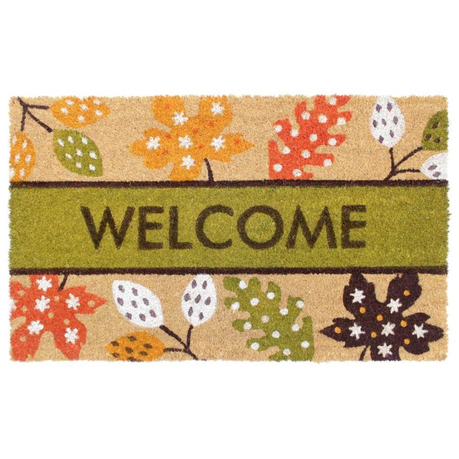 Zig Zag Autumn Leaves Coir Doormat 1 1 2 X 2 1 2 Green Indoor Outdoor Floral Botanical Area Rug In The Rugs Department At Lowes Com