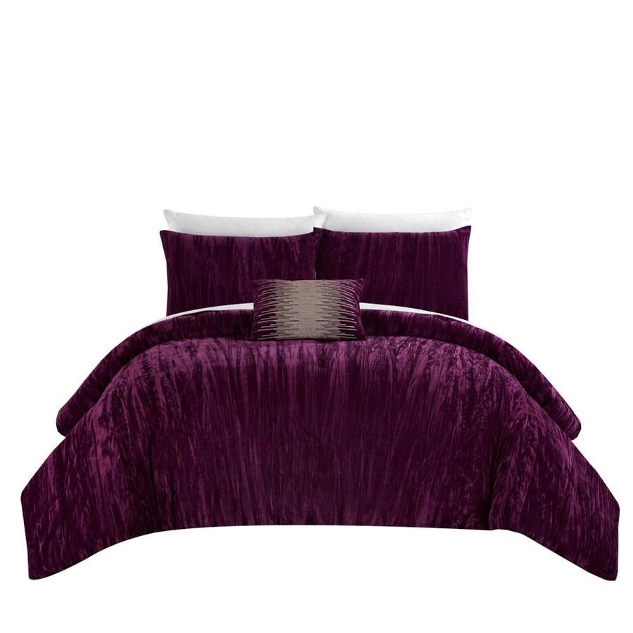 Chic Home Design Westmont 8 Piece Plum King Comforter Set In The Bedding Sets Department At Lowes Com