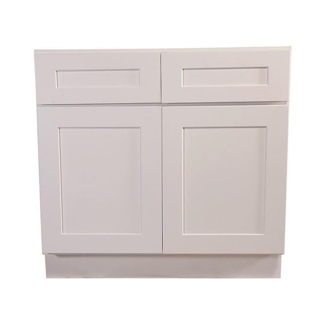 Design House 42 In W X 34 5 In H X 24 In D White Maple Door And Drawer Base Stock Cabinet In The Stock Kitchen Cabinets Department At Lowes Com