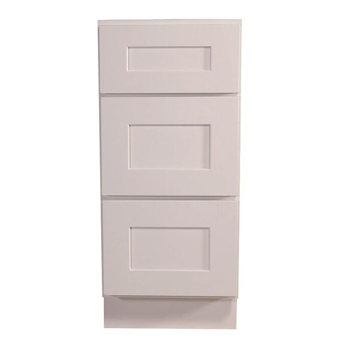 Design House Brookings Fully Assembled 15x34 5x24 In Shaker Style Kitchen Base Cabinet With 3 Drawer In White In The Stock Kitchen Cabinets Department At Lowes Com