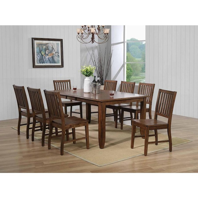 Sunset Trading Simply Brook 10 Piece Extendable Table Dining Table Set With Sideboard In Amish