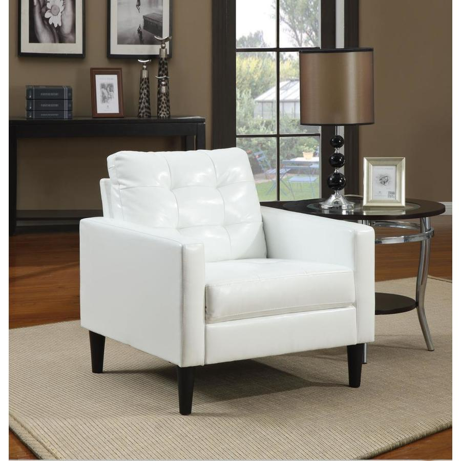Homeroots Amelia Modern White Pu Blend Accent Chair In The Chairs Department At Lowes Com