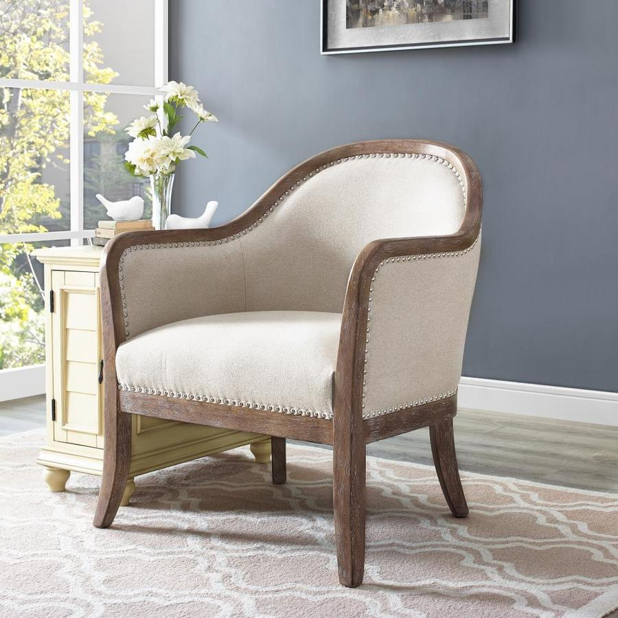 Homefare Farmhouse Beige Accent Chair In The Chairs Department At Lowes Com