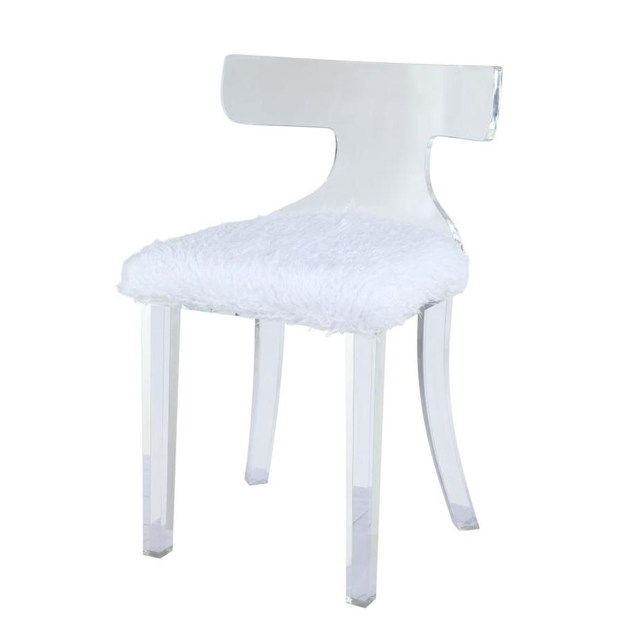 Homeroots Amelia Modern White Fur Faux Leather Accent Chair In The Chairs Department At Lowes Com