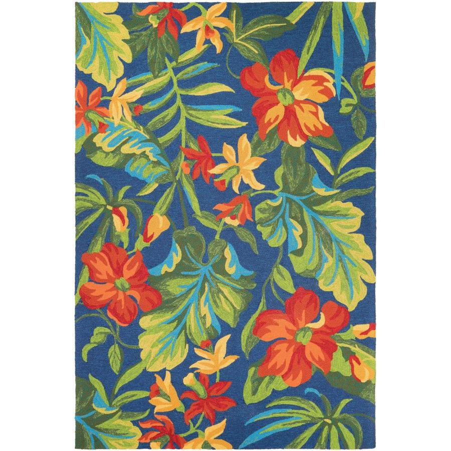 Couristan Covington 5 X 8 Azure Forest Green Red Indoor Outdoor Floral Botanical Handcrafted Area Rug In The Rugs Department At Lowes Com