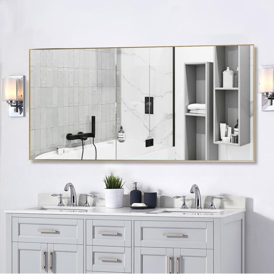 Neutype 21 In L X 47 In W Gold Framed Wall Mirror In The Mirrors Department At Lowes Com