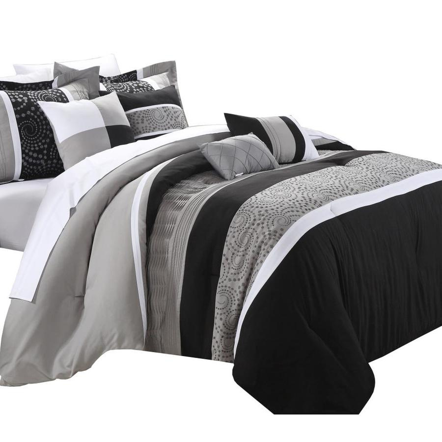 Chic Home Design Euphoria 8 Piece Black King Comforter Set In The Bedding Sets Department At Lowes Com