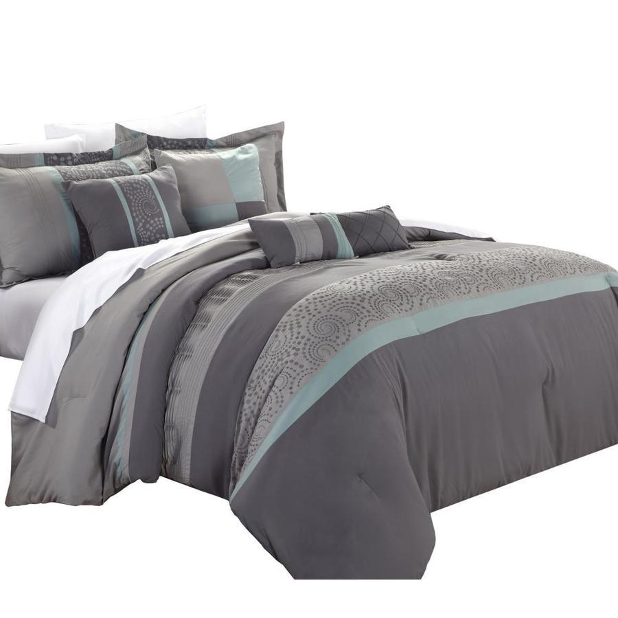 Chic Home Design Euphoria 8 Piece Aqua King Comforter Set In The Bedding Sets Department At Lowes Com
