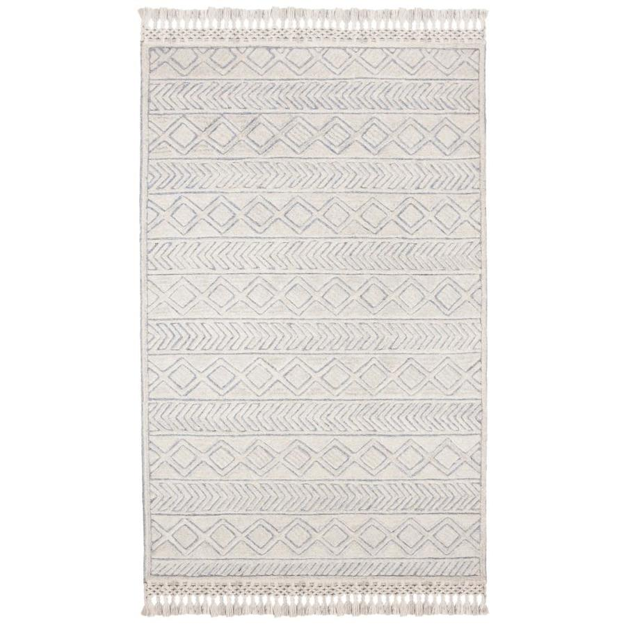Safavieh Casablanca Stonya 5 X 8 Ivory Blue Indoor Abstract Moroccan Handcrafted Area Rug In The Rugs Department At Lowes Com