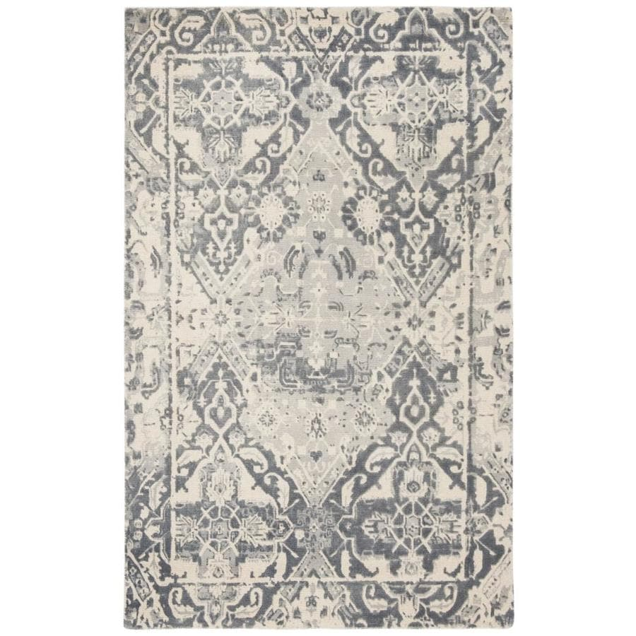Safavieh Restoration Vintage Gaylen 4 X 6 Charcoal Ivory Indoor Distressed Overdyed Vintage Handcrafted Area Rug In The Rugs Department At Lowes Com