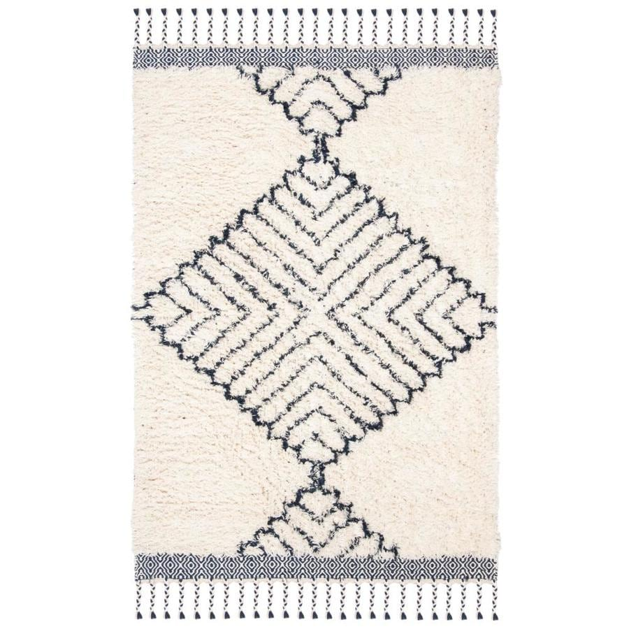 Safavieh Casablanca Marjolein 4 X 6 Ivory Navy Abstract Bohemian Eclectic Handcrafted Area Rug In The Rugs Department At Lowes Com